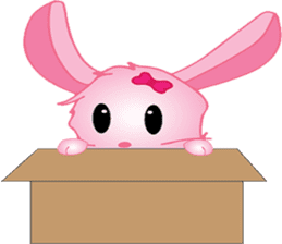 pink bunny cute sticker #7553823