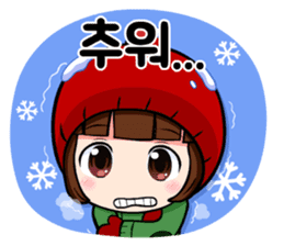 KOR ver, Cute girl 'DOTORI' sticker #7574693