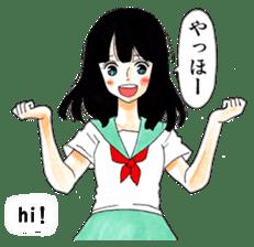 commonplace female high-school student sticker #7617541