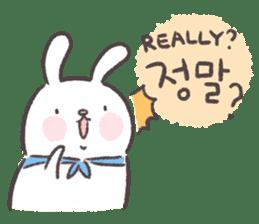 Blue-Scarfed Bunny's Days in Korean sticker #7623202