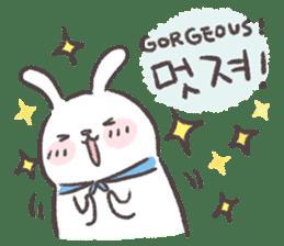 Blue-Scarfed Bunny's Days in Korean sticker #7623204