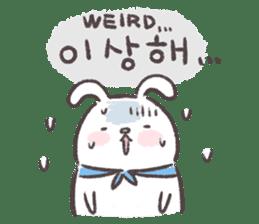 Blue-Scarfed Bunny's Days in Korean sticker #7623210