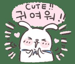 Blue-Scarfed Bunny's Days in Korean sticker #7623211