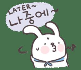 Blue-Scarfed Bunny's Days in Korean sticker #7623212