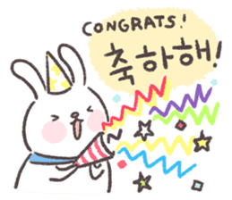 Blue-Scarfed Bunny's Days in Korean sticker #7623223