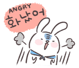 Blue-Scarfed Bunny's Days in Korean sticker #7623229