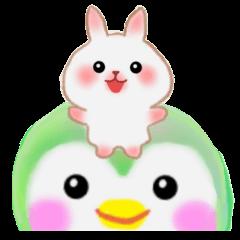 rabbit  on the penguin