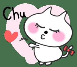 pretty cute cat momo english version sticker #7696397