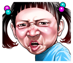Angry face of children sticker #7730228