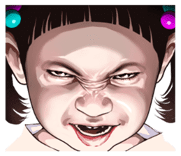 Angry face of children sticker #7730237