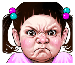 Angry face of children sticker #7730239
