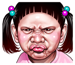 Angry face of children sticker #7730242
