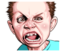 Angry face of children sticker #7730250