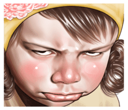 Angry face of children sticker #7730251