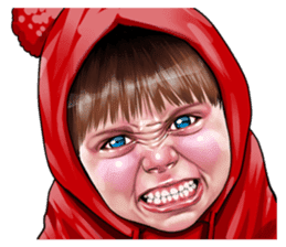 Angry face of children sticker #7730252
