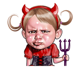 Angry face of children sticker #7730254