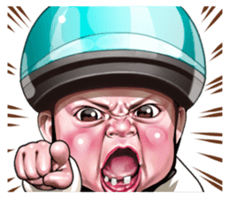 Angry face of children sticker #7730267