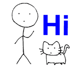 The stickman and the cat sticker #7779268