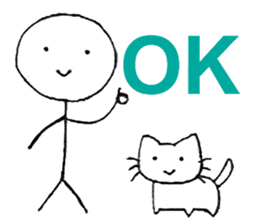 The stickman and the cat sticker #7779271