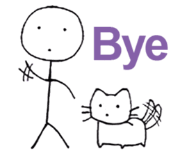 The stickman and the cat sticker #7779277