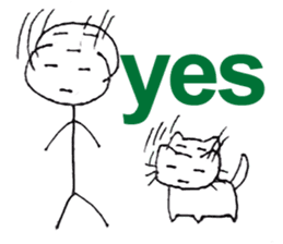 The stickman and the cat sticker #7779281