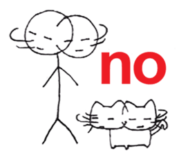 The stickman and the cat sticker #7779282