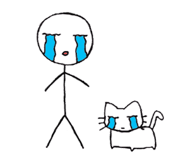 The stickman and the cat sticker #7779285