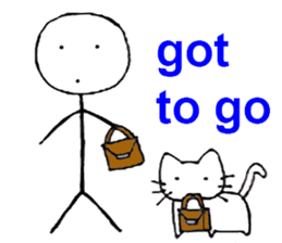 The stickman and the cat sticker #7779286