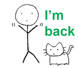 The stickman and the cat sticker #7779287