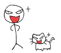 The stickman and the cat sticker #7779289