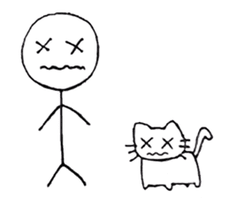 The stickman and the cat sticker #7779292