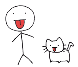 The stickman and the cat sticker #7779294