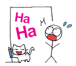 The stickman and the cat sticker #7779302