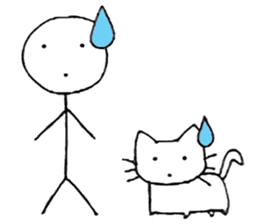 The stickman and the cat sticker #7779304