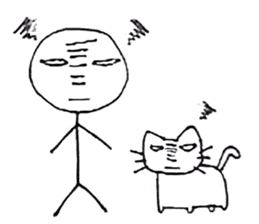 The stickman and the cat sticker #7779306