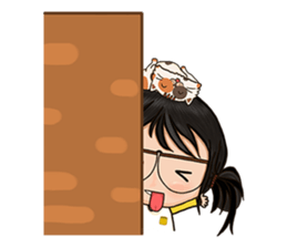 Miss.Glasses and her cat (EN) sticker #7868054