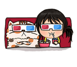 Miss.Glasses and her cat (EN) sticker #7868081