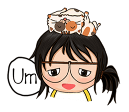 Miss.Glasses and her cat (EN) sticker #7868087