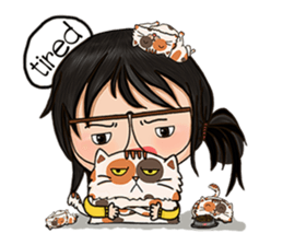 Miss.Glasses and her cat (EN) sticker #7868088