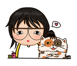 Miss.Glasses and her cat (EN) sticker #7868091