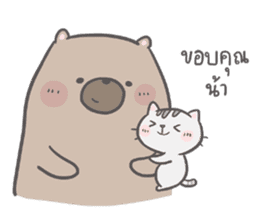 Mr. bear and his cutie cat 2 sticker #7873155