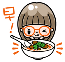 Cute girl with round glasses sticker #8035550