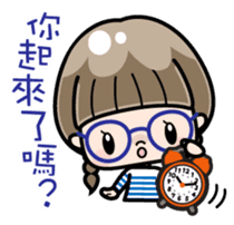Cute girl with round glasses sticker #8035551