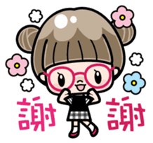 Cute girl with round glasses sticker #8035553