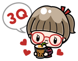 Cute girl with round glasses sticker #8035554