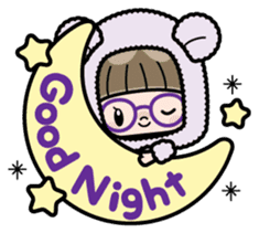 Cute girl with round glasses sticker #8035556