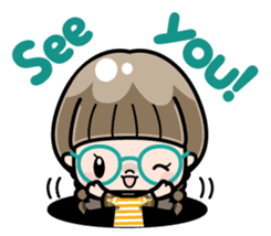 Cute girl with round glasses sticker #8035558
