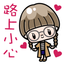Cute girl with round glasses sticker #8035559