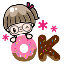 Cute girl with round glasses sticker #8035560