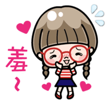 Cute girl with round glasses sticker #8035567